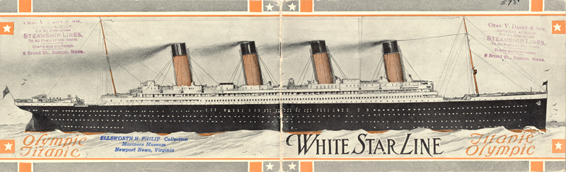 Illustration of Titanic and Olympic, from 1911 brochure