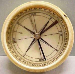 Ivory compass, 1750-1850. Courtesy of The Mariners' Museum.