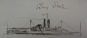 1988.41.185, sketch of the steamship Bay State by Samuel Ward Stanton