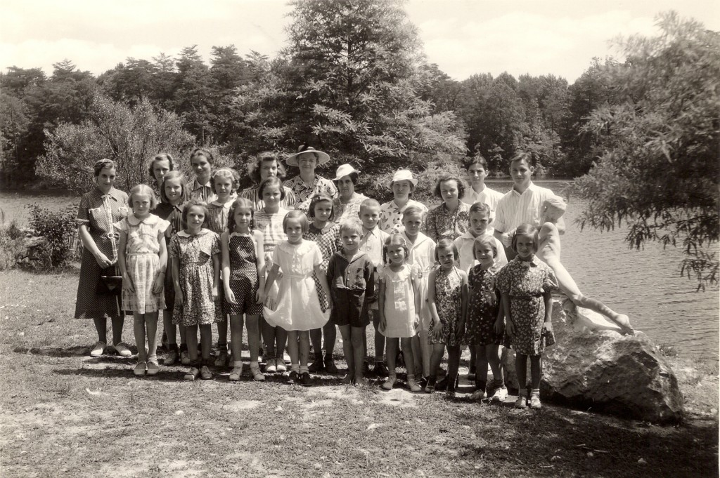 Group visiting the rock garden August 1938