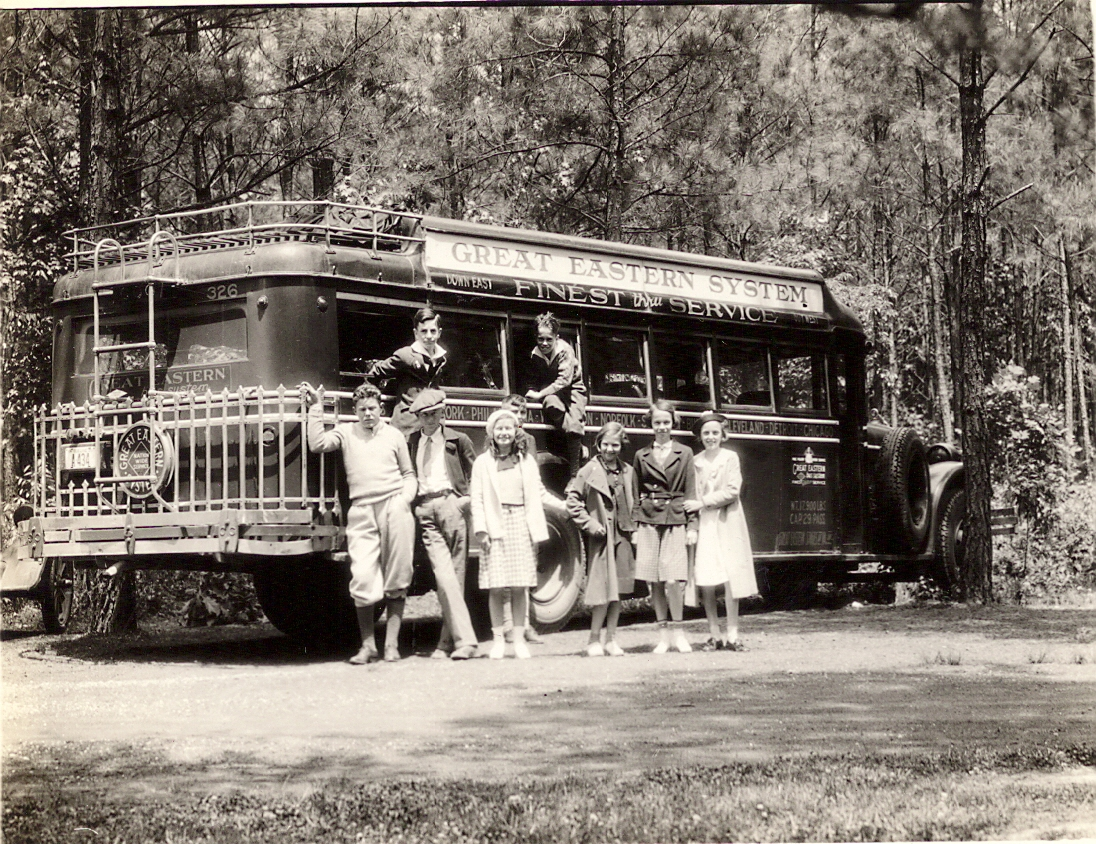 School children with their bus May 1935