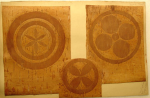 Three  bark decoration samples by Edwin Tappan Adney for his book about the history, development and use of North American canoes.   (2000.38.14 a-c)