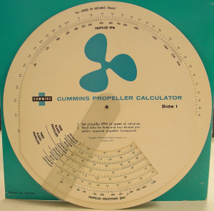 Propeller Calculator.  One of the devices used by the Chris Craft Corporation to calculate efficiency of three and four bladed propellers in the 1960s and 1970s. (2004.37.03E)