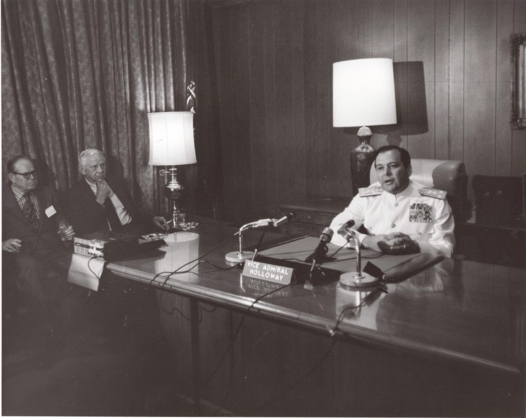 May 19, 1971, Vice Admiral Holloway, speaker for propeller club being interviewed by tv reporters in Admiral Dufek's  office