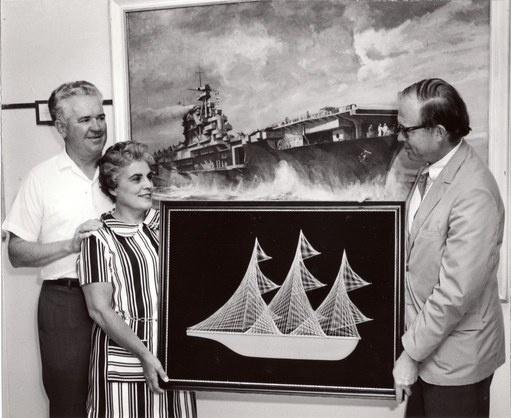 Sep 11, 1972 six millionth visitor to museum with Director William Wilkinson presenting