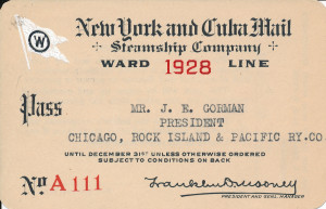5 - New York & Cuba Mail Steamship Company pass, 1928 (1)