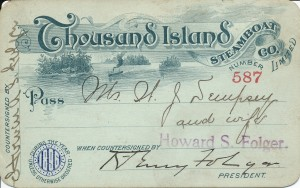 Thousand Island Steamboat Company pass, 1896 (1)