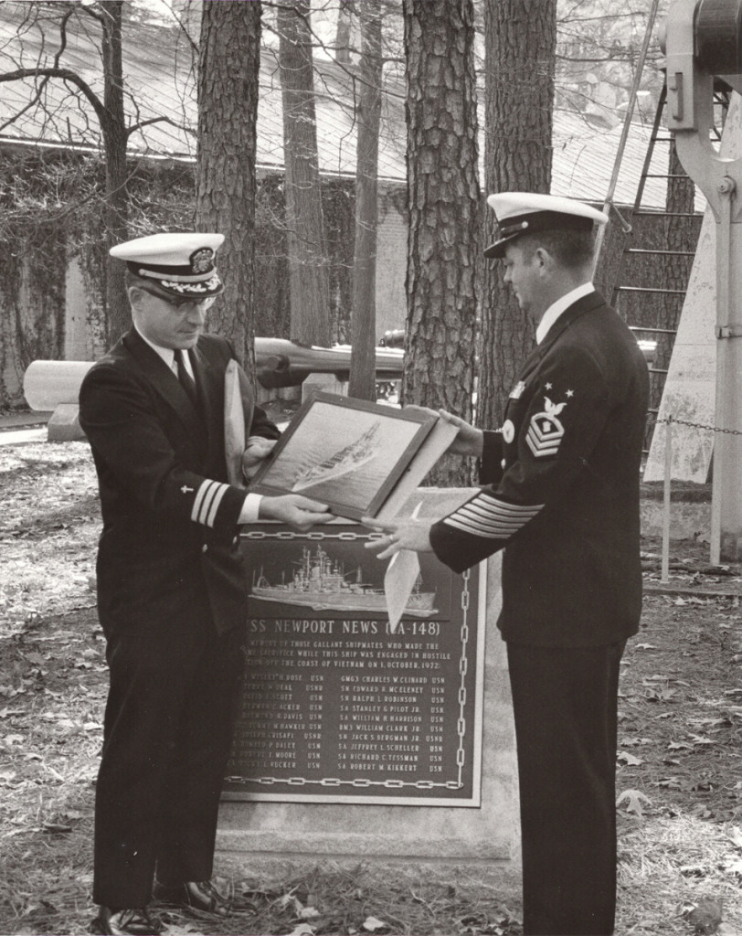 Dec 23, 1974, Re-enlistment at naval memorial plaque