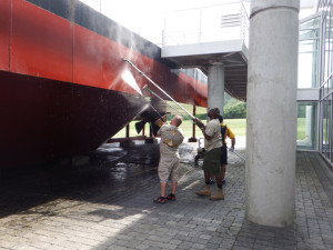 Power washing the replica. It looks fantastic, all clean and shiny.