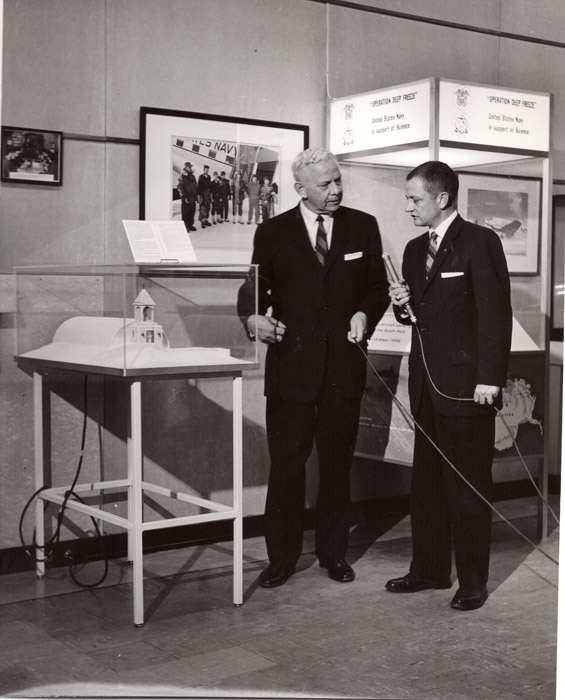 Jan 23, 1963, Channel 13 taping a tv program about the International Antarctic Exhibition, interviewing Admiral Dufek
