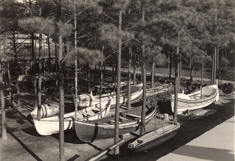 Museum Courtyard, boats on display January 2, 1940