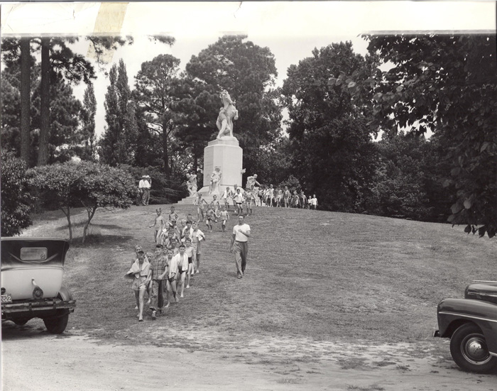 Newport News Boys Club camping in the park July 1947