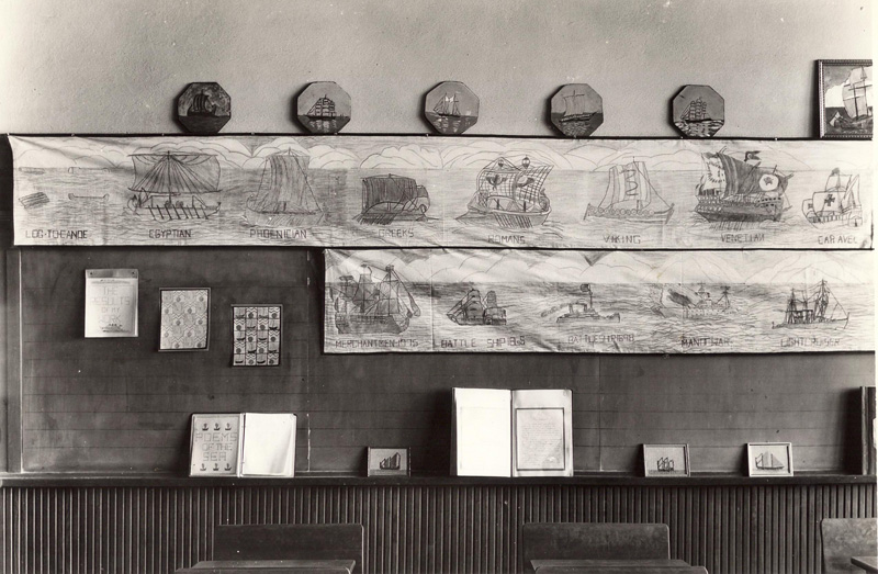 November 1936 Classroom exhibition inspired by a visit to The Mariners' Museum