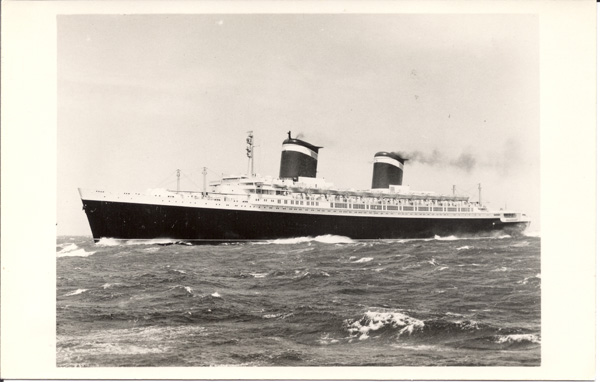 Photographic postcard, SS United States on trials 1952 (1)