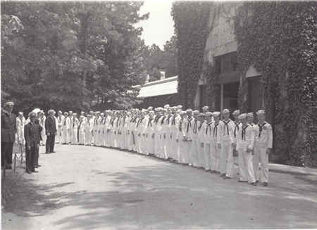 Sea Scouts from Baltimore, MD in front of main entrance May 1949