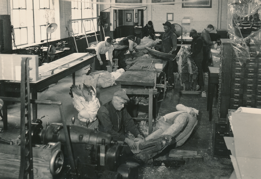 Figureheads being repaired in model shop, January 23, 1940 (1)