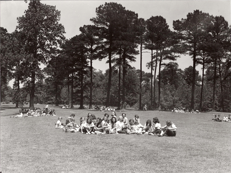 Warwick County Girl Scouts Field Day in what is now known as Harvey Field May 1947