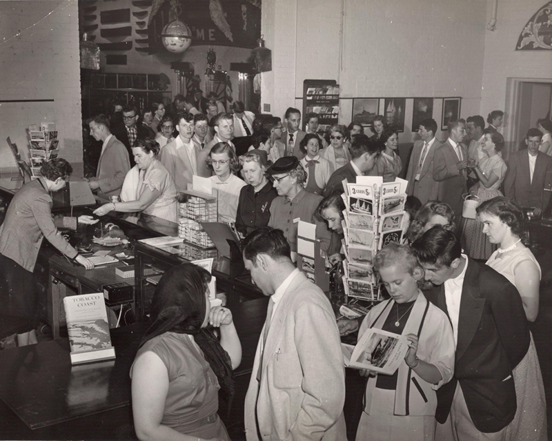 visitors in the gift shop May 1955
