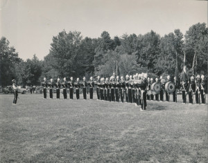 Drum & Bugle Corps performing in Harvey Field, Brayton-Perkins Post, 07-21-1957 (1)