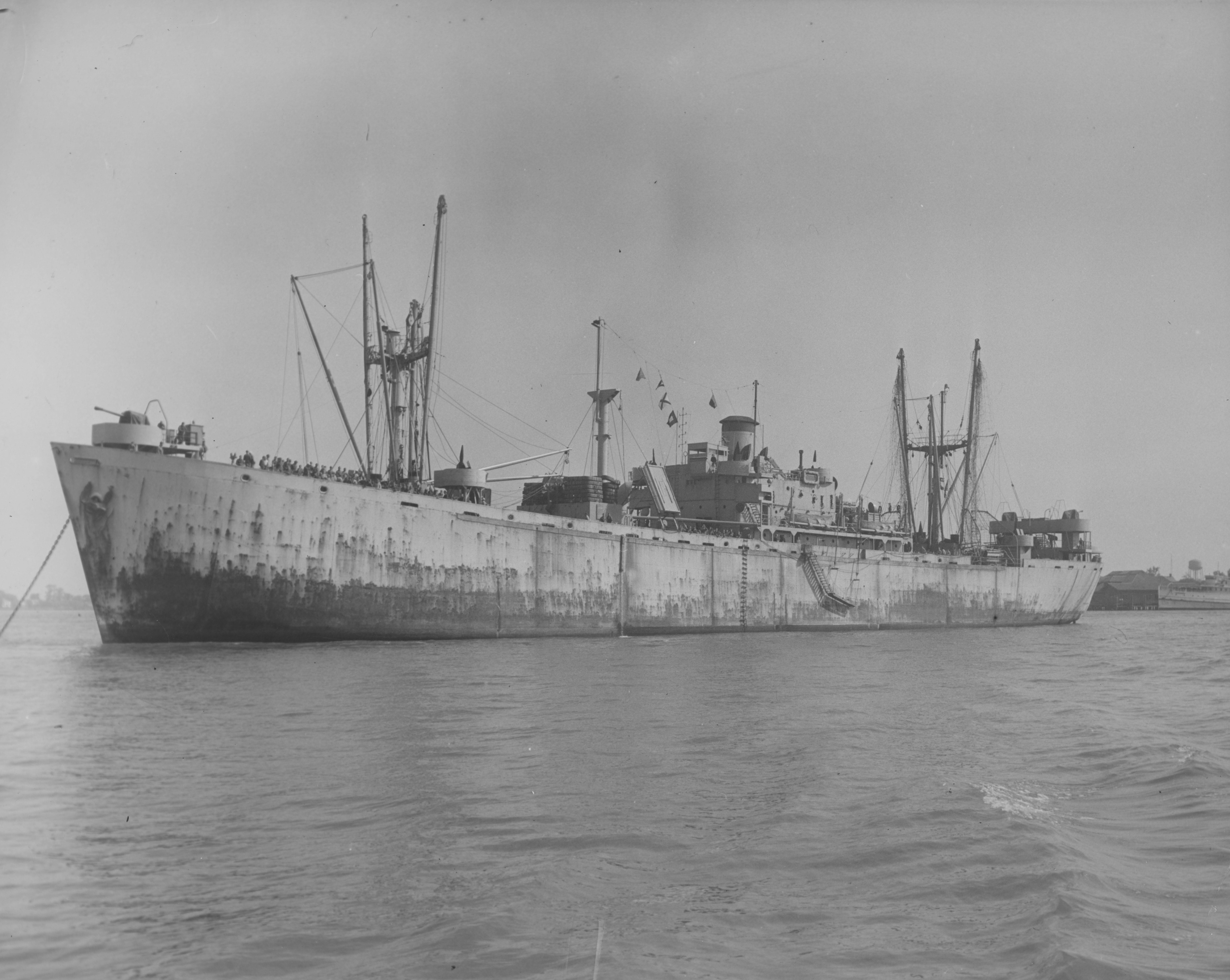 Liberty ship Joseph Warren in quarantine at Newport News with 300 German POWs on board