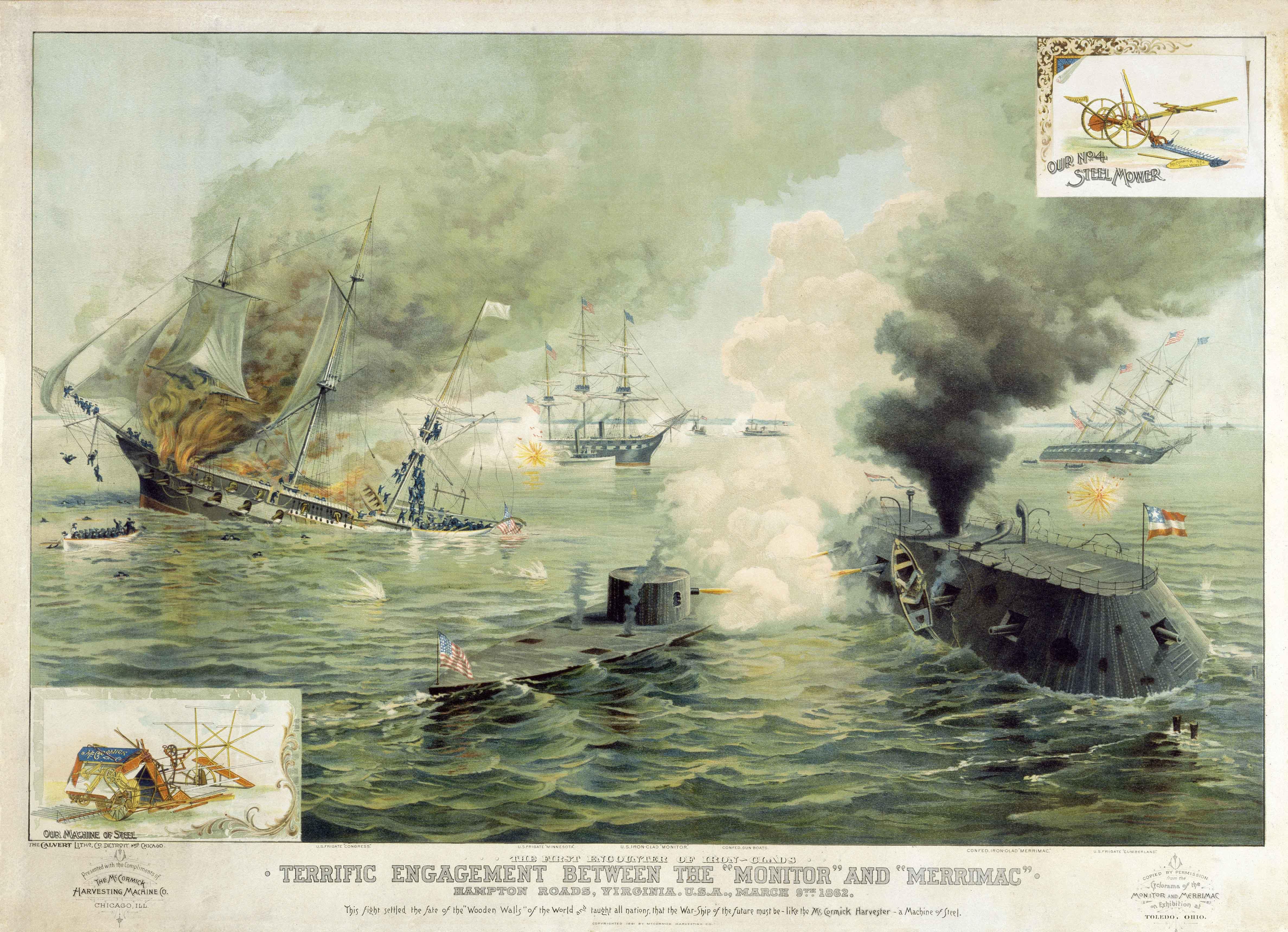 Historic image of the Battle of Hampton Roads.