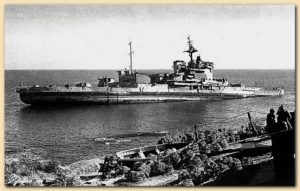HMS Warspite run aground at Prussian Cove, Courtesy of cadgwith.com