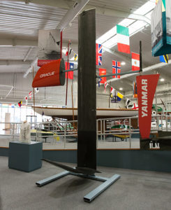J-foil daggerboard, T-foil rudder, bow replacement piece & Slingsby's jersey on display