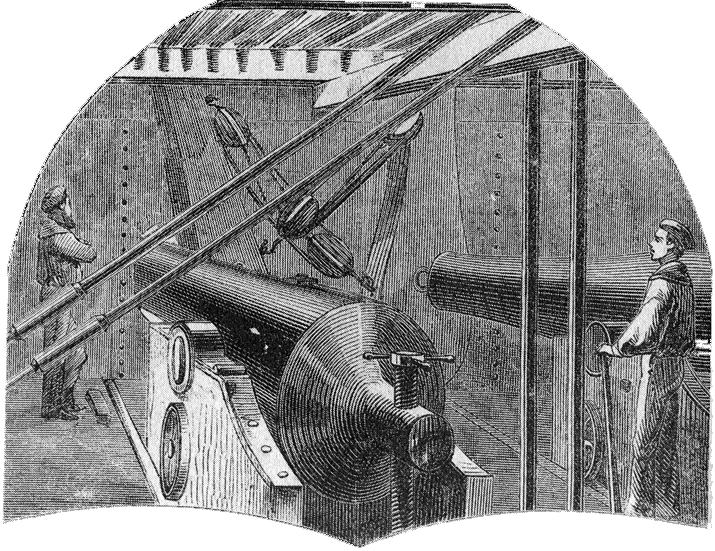 Interior of the USS Monitor's turret showing the gun carriages in situ.