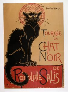 Advertising poster of a regal black cat.