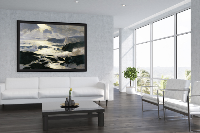 White living room interior with large centered poster.