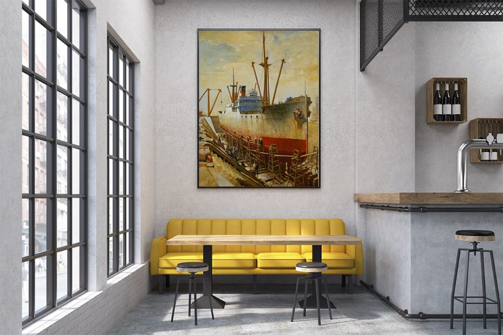 Close up of a yellow sofa in a cafe with small tables and a bar. Large vertical poster on a concrete wall.