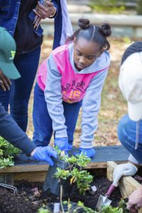 A third-grader from L.F. Palmers Elementary working with classmates and the Peninsula Master Naturalists in the Pollinator Garden at The Mariners' Museum Park.