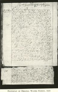 photostat of Waters Land patent 1624