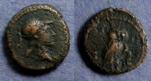 Bronze coin with Minerva on obverse and owl on reverse