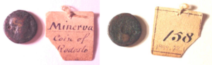 Bronze coin with very worn images on both obverse and reverse