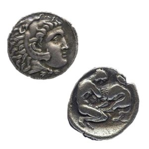 Coin featuring Herakles fighting the lion and Zeus.