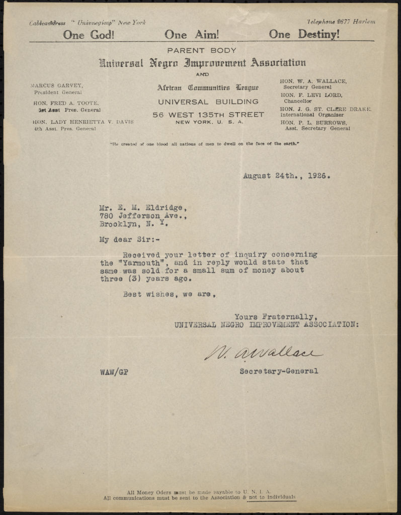 Letter to Eldredge from the UNIA