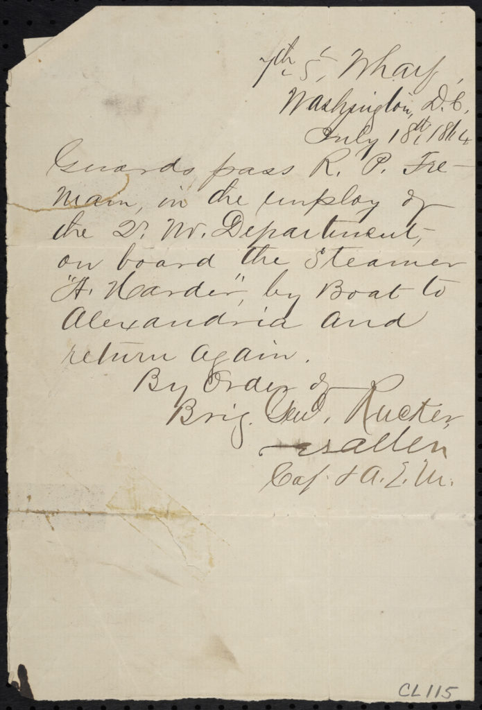 Pass for R. P. Tremain, July 18, 1864