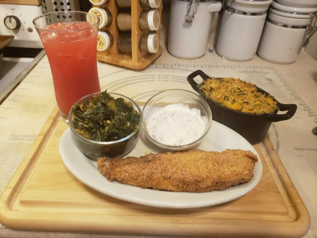 Fried fish with side dishes